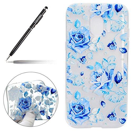 Uposao Kompatibel mit Handyhülle Galaxy J2 Pro 2018 Hülle Dünn Transparent Handy Tasche TPU Case Bunt Muster Ultra Slim Durchsichtig Handyhülle Silikon Bumper Silikon Crystal Case,Blau Rose Blume