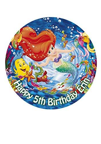 Ariel Princess Personalisierte Kuchen Topper Puderzucker Papier 19,1cm Bild H