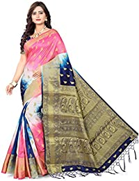 Riva Enterprise Women's Banarasi Silk Zari Woven Pallu Saree