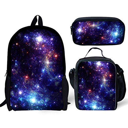 ba6ec34e76c0 Nopersonality Purple Galaxy Star Backpack and Lunch Bag Set Girls Boys Back  to School Bookbag with Pencil Case