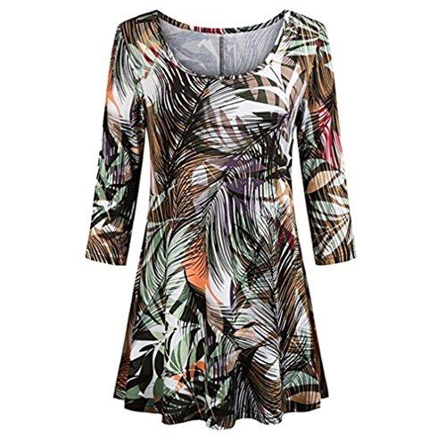 VEMOW Damen 3/4 Ärmel Floral Tunika Shirts Sommer Herbst Mode Damen Beiläufig Blumendruck Shirts O-Neck Geschäft Tunika Dressy Bluse Tops Oberteil(Armeegrün, EU-46/CN-2XL)