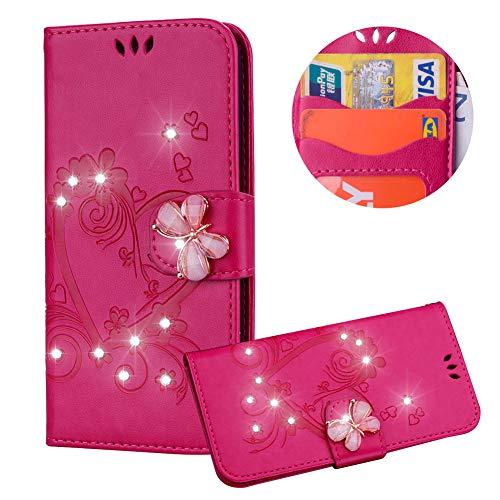 Heiß Rosa Brieftasche für iPhone XS,Strass Handyhülle für iPhone X,Moiky Luxus Liebe Herze Muster 3D Schmetterling Dekor Magnetisch Kunstleder Stoßdämpfende Handytasche mit TPU