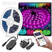 5M Luci Striscia LED RGB da APP, Minger LED Light Strip RGB 5050 Flessibile/ Accorciabile/ Divisibile/ Collegabile, 9 Colori di Controllo, LED Strisce Impermeabile IP65 per Casa, Ristorante, Cucina, Veranda, Ufficio, Camera da Letto(12V/ 2A, Compreso Alimentatore)