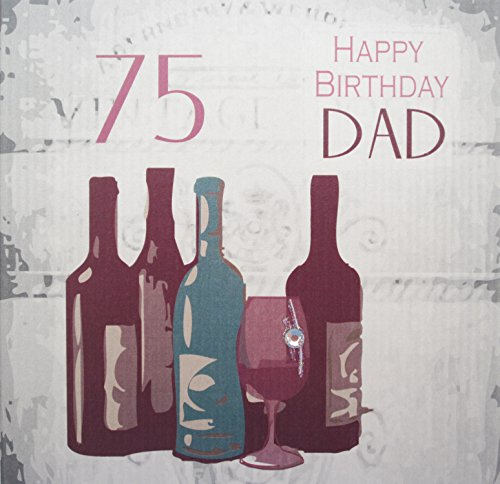 White Cotton Cards Handmade 75 Happy Birthday Dad Vintage Wine 75th Card