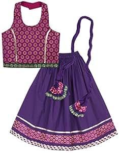 Lil'Posh Halter Neck Style Choli With Ghagra And Dupatta Set - Purple (2 - 3 Years)
