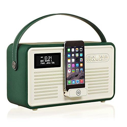 Dock Fm Radio Ipod (VQ Retro Mk II DAB/DAB+ Digital- und FM-Radio mit Bluetooth, Apple Lightning Dock und Weckfunktion - Smaragdgrün)