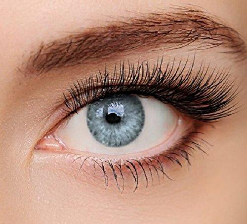 ELFENWALD farbige Kontaktlinsen, 3 - Monatslinsen, INTENSE EISGRAU / HELLGRAU, stark deckend, natürlicher Look, maximaler Tragekomfort, ohne Stärke, 1 Paar weiche Farblinsen, inkl. Behälter und Anleitung
