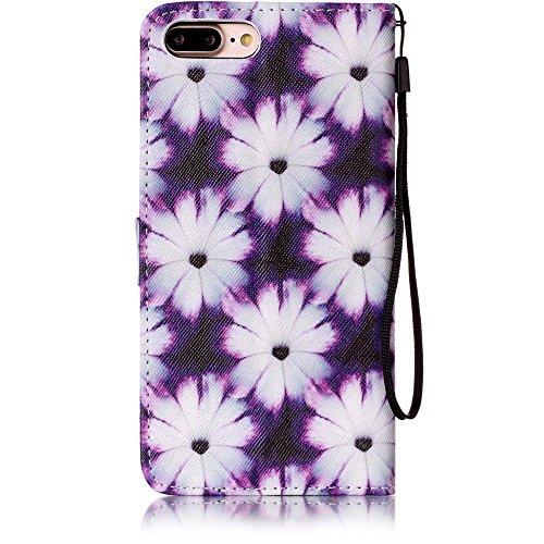 """Cuir Portefeuille Coque pour Apple iphone 7 Plus 5.5"""" Bleu, Élégant iPhone 7 Plus étui Rabat Style, Case iPhone 7 Plus, Joli Image Imprimé - Fleur bleue Noir-2"""