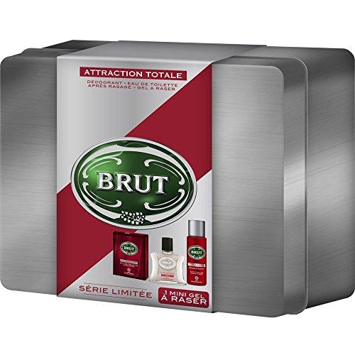 Brut Coffret cadeau homme Attraction Totale - Eau de toilette + déodorant + gel à raser + après rasage + boite acier