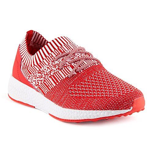 FiveSix Herren Damen Sneaker Sportschuhe Laufschuhe Freizeitschuhe Textilschuhe Schnürschuhe Low-Top Unisex Schuhe Rot/Weiss-M EU 46 (Nike Shox Damen Weiß)