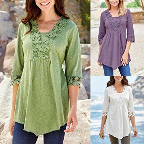 Somesun Women Blouse T-Shirt Tops, Le Donne Casuali Di Base Solido Laciness Stitching Mezza Manica T-Shirt Camicetta Superiore Green