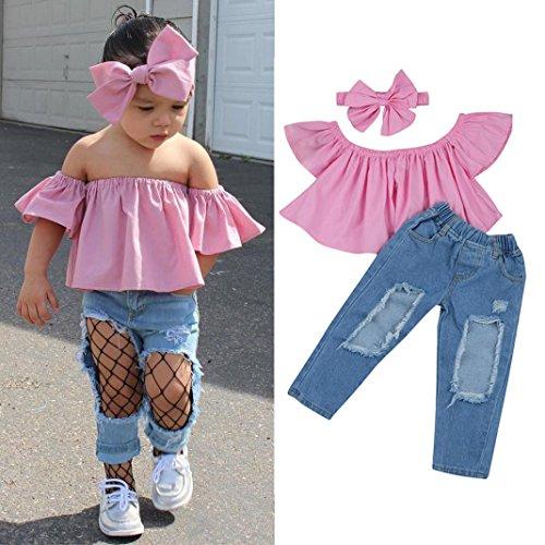 Janly Kinder Kleinkind Baby Mädchen aus Schulter T-Shirt Tops Jeans Hosen Kleider Outfits Set (7T) (Rosa Mädchen-jeans)