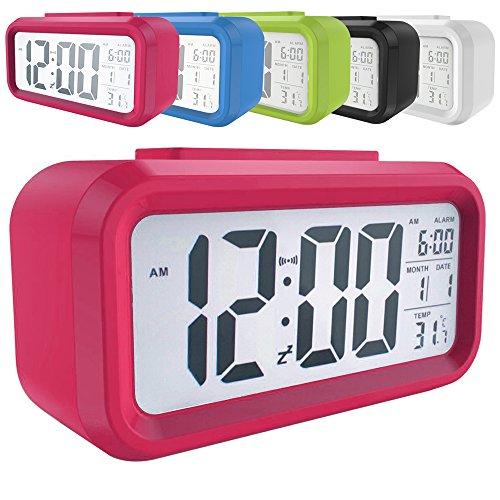 """LED Digital-Wecker batteriebetriebener mit Schlummertaste 5,3"""" extra großem Display Datum, Temperatur-Sensor-Licht Snooze 5 Minuten für Kinder Studenten und Erwachsene(Grün/Pink/Blau/Schwarz/Weiß) (Pink)"""