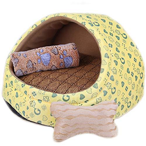 Gelbe Liebesfigur Pet Nest abnehmbare und waschbare kleine und mittlere Hunde Sommermatte Vier Jahreszeiten Universal Hundebett Katze Haus Villa drei Größe Optional MUMUJIN (Farbe : D, größe : S)