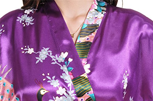 Yoliki Damen Morgenmantel Satin Bademantel Damen Kimono kurzer Bademantel Schlafanzug Nachthemd Dunkel Lila
