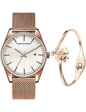 XLORDX Luxus Damen-Armbanduhr Analog Quarz Datum Rosegold Edelstahl Armband, Weiß Zifferblatt mit Elegant Rosegold...