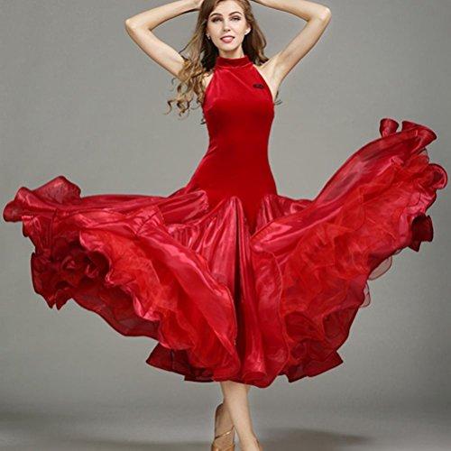 Klassisch Modernes Tanzkleid Für Frauen Samt spleißen Hoher Hals Großer Schwung Ärmellos Performance Kostüm Walzer Tanz Wettbewerb Kleider