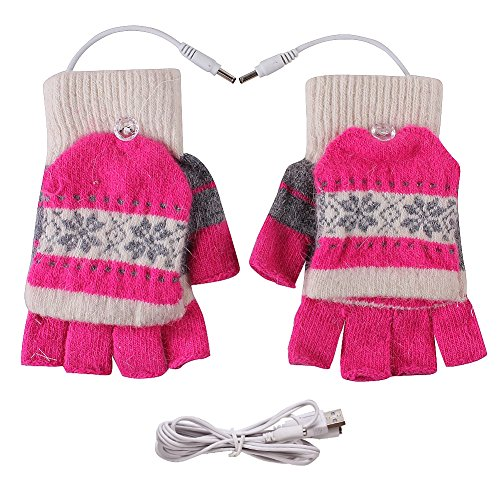 TININNA Winter Warm Christmas Snowflake Striped USB Heated Fingerless Gloves for Women Girls Boys Hot Pink Test