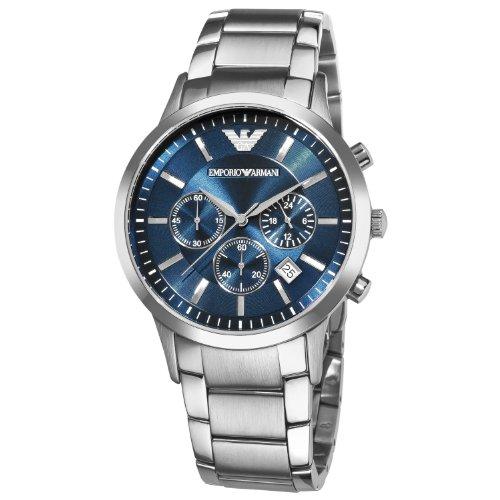 Men's Emporio Armani AR2448 Quartz Blue Dial Stainless Steel Chronograph Watch