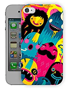 """Humor Gang Happy Colorful Cute MonstersPrinted Designer Mobile Back Cover For """"Apple Iphone 4-4S"""" (3D, Matte Finish, Premium Quality, Protective Snap On Slim Hard Phone Case, Multi Color)…"""