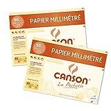 Canson 400110118 - Lotto di 2 buste di carta millimetrata, 12 fogli, 90 g, formato A4