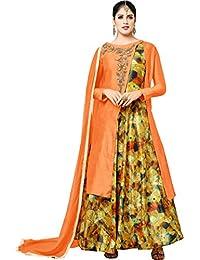 MF Next New Designer Orange And Multi Cotton Embroidered Heavy Anarkali Suit