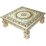 Craft Zone Meenakari Puja Bajot/Table/Chowki Ganpati Sinhasan Pooja, Chaurang Subh Labh Design, 15 X 15 X 2.5 Inch(01 Bajot 15 * 15)