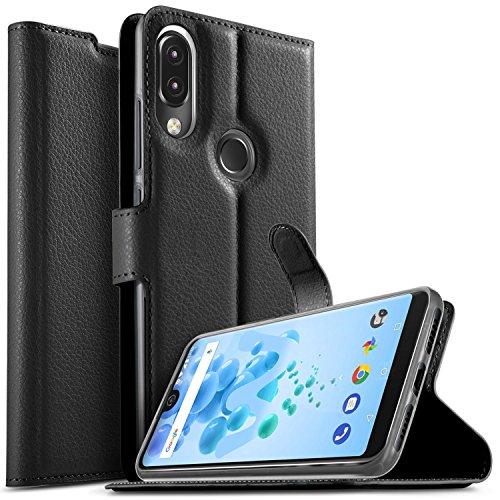 KuGi Wiko View 2 pro Hülle, Wiko View 2 pro Wallet Case, Brieftasche Case Hülle PU Kunstleder Flip Case mit Standfunktion Kartenfächer und Bargeld für Wiko View 2 pro Smartphone.Schwarz