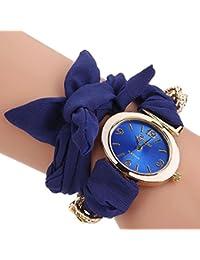 Sapphire Blue : ALCYONEUS Casual Sweet Bow Cloth Strap Round Dial Quartz Bracelet Wrist Watch For Woman