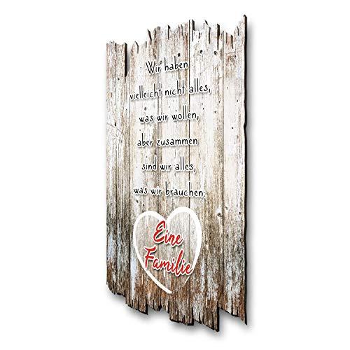 Wandbild Familie - Holzschild mit Spruch und Motiv - Shabby Chic Landhaus Stil - Wand Deko für Zuhause - ideal als Geschenk für Familie und Freunde 30x20cm