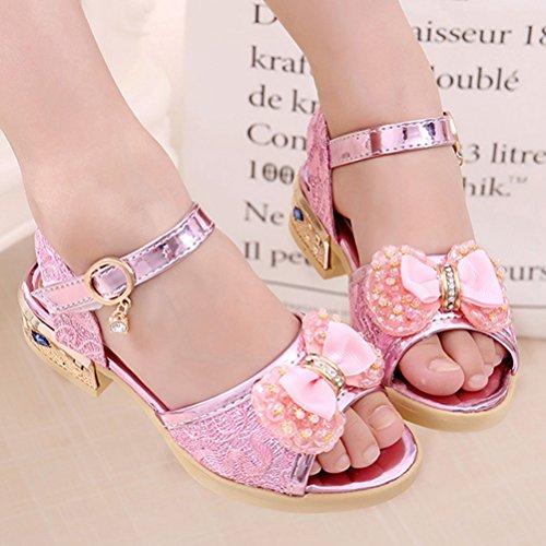 Zhhlaixing Summer Kids Non-slip Beach Shoes Sweet Girl Bowknot Princess Sandals 527 pink