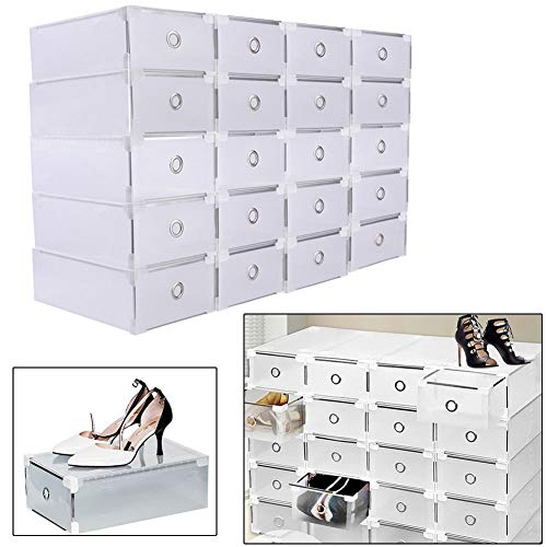 YIYIBY 24 x Schuhaufbewahrung Schuhbox Aufbewahrungsboxen, Transparent Plastik Schuh Boxen Schuhkasten Stapelbox Schuhkarton Aufbewahrungsbox