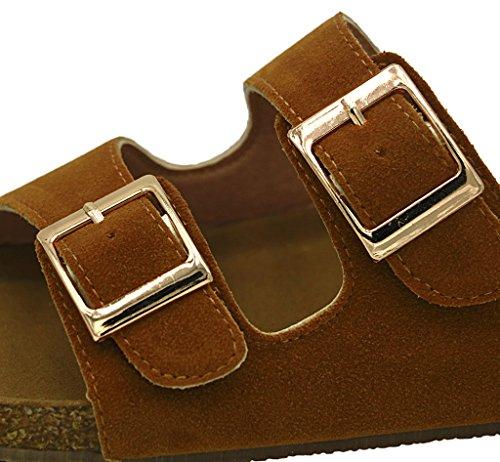 AgeeMi Shoes Femmes Boucle Plat Sandales Peep Toe Mixte Adulte Classic Sandales Brun Suédé (EuL04)