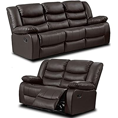 Belfast Dark Brown Leather Reclining Sofa Range 3 and 2 Seater Recliner Sofas (All combinations available) ... from Simply Stylish Sofas