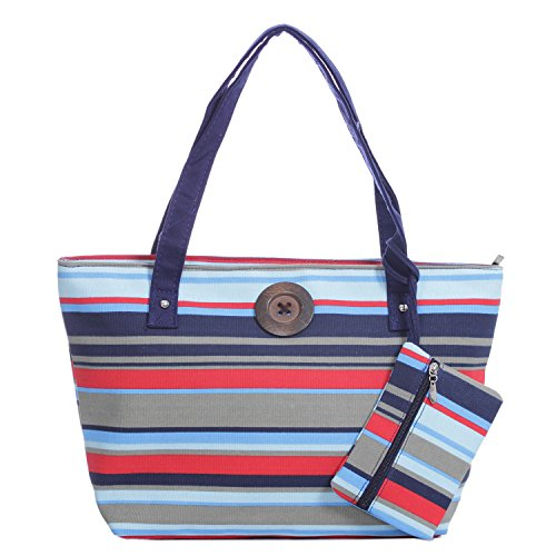 Stripe Canvas Tote Bag Vintage Button Holiday Beach Shoulder Handbag Navy Red Stripe