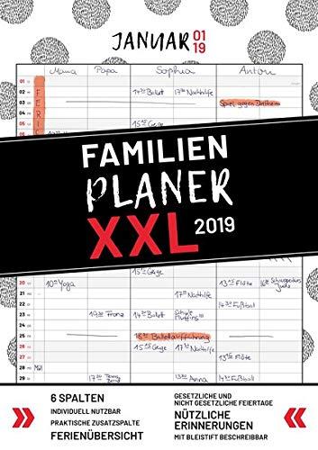 XXL Familienplaner 2019 zum Aufhängen in DIN A3. Hochwertiger und übersichtlicher Familienkalender 2019 mit 3 bis 6 Spalten, plus einer Zusatzspalte. ... Feiertage, Ferien und Zusatzinfos.