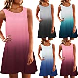 Lailailaily Women's Sleeveless Crew Neck Casual Loose Fitting Gradient Dresses
