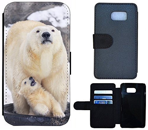 Flip Cover Schutz Hülle Handy Tasche Etui Case für (Apple iPhone 6 / 6s, 1260 Bär Braun) 1258 Eisbär Bär Baby Weiß