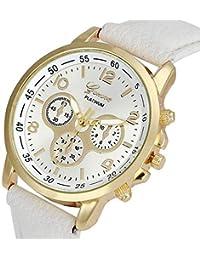 LEvifun Geneva Montre Femme Bracelet en Cuir Montre-Bracelet Dame Quartz  Analogique Femme Chronographe Montres 01076950265