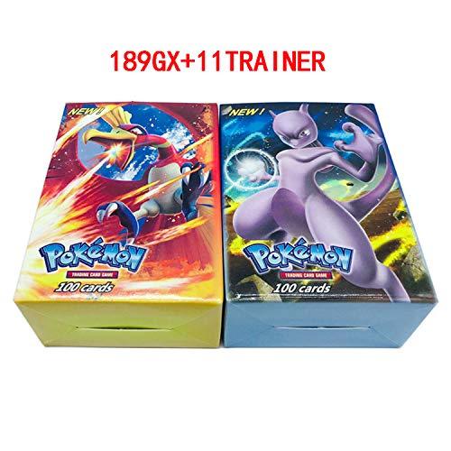Generic 200PCS. Carte Pokemon, GX/EX/Mega/Energy. Freebies: 200 Pages (Carte de Jeu/Film Protecteur Film Protecteur),189GX+11Trainer