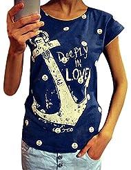 QHGstore Mujeres T Shirt Plus Size Casual Carta Impresión Anchor Tops de algodón de manga corta camiseta Azul marino XL