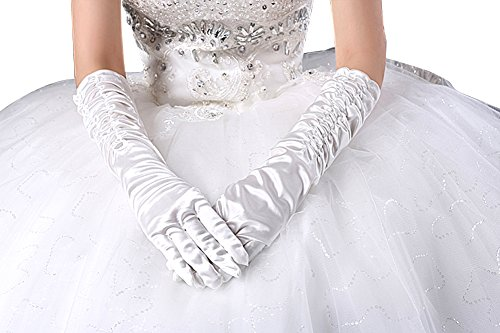SwirlColor Länge Long White Satin Brauthandschuhe mit Wrinkle für Hochzeitskleider