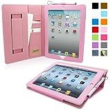 Snugg iPad Hülle - Smart Cover mit Aufsteller, elastischer Handschlaufe, Stylus-Halterung und Premium Nubuck Innenfutter Rosa Candy Pink iPad 2 Executive
