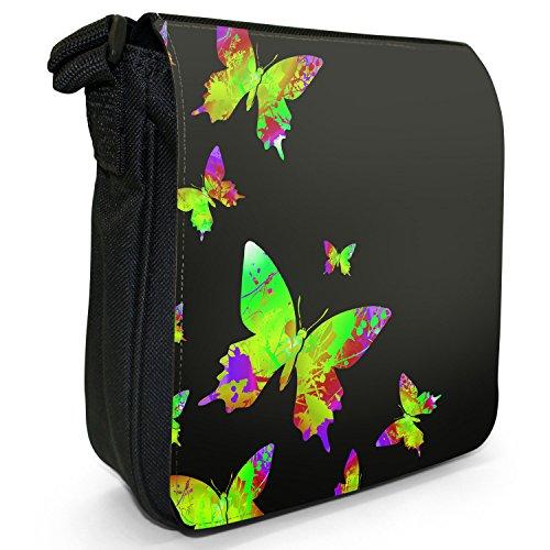 Arcobaleno farfalle piccola borsa a tracolla in tela nera con schizzi di vernice, taglia S Green Rainbow Splash Butterflies