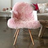 Vendôme Premium Lammfell Schaffell 95cm, ökologisch gegerbt, Flauschiger Teppich, Luxus Kuschelfell, Farbe rosa