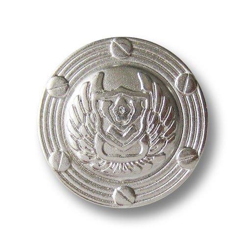 Knopfparadies - 6er Set imposante silberfarbene Metall Ösen Knöpfe mit Wappen, Flügeln & Schrauben / silberfarben / Metallknöpfe / Ø ca. 20mm (Silber Flügel Kostüm)