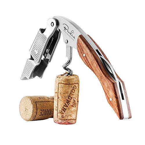 BENKIA Holz Kellnermesser - Gratis Wein-Ratgeber Ebook - Profi Korkenzieher aus Edelstahl in Gastronomie Qualität mit Flaschenöffner & Folienschneider