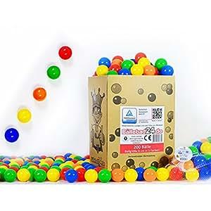 Koenig-tom Lot de 200 balles de jeu en plastique pour enfant Garantie TÜV (sans substances nocives) 6 cm
