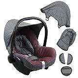 BAMBINIWELT Ersatzbezug für Maxi-Cosi CabrioFix 6-tlg. GRAU/BORDEAUX, Bezug für Babyschale, Komplett-Set