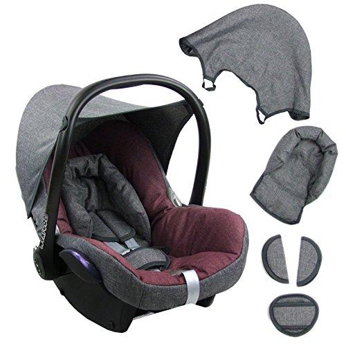 BambiniWelt Ersatzbezug für Maxi-Cosi CabrioFix 6 tlg. GRAU / BORDO *NEU* Bezug für Babyschale Sommerbezug Cabrio Fix